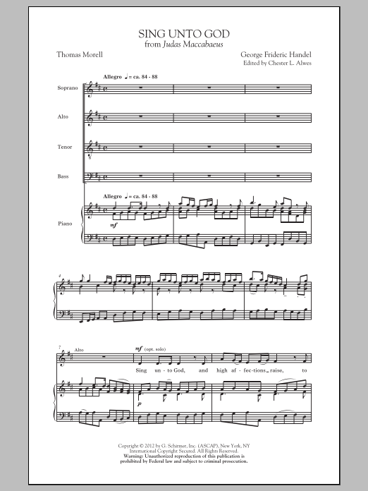 Sing Unto God Sheet Music