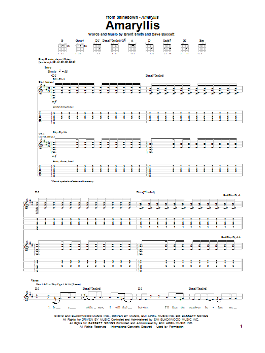 Tablature guitare Amaryllis de Shinedown - Tablature Guitare
