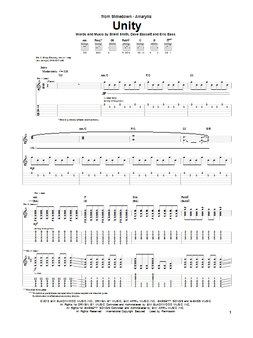 Unity Guitar Tab by Shinedown (Guitar Tab u2013 89887)