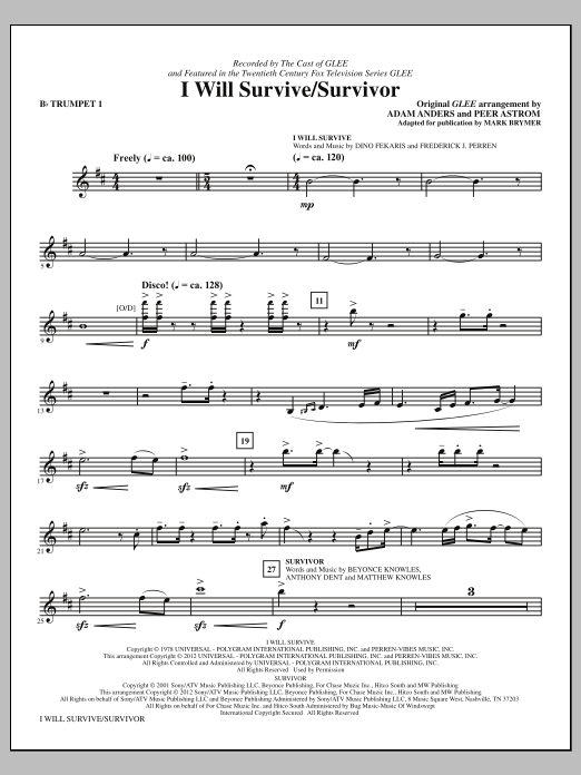 I Will Survive/Survivor (complete set of parts) sheet music for orchestra/band (chamber ensemble) by Mark Brymer, Adam Anders, Glee Cast, Gloria Gaynor and Peer Astrom. Score Image Preview.