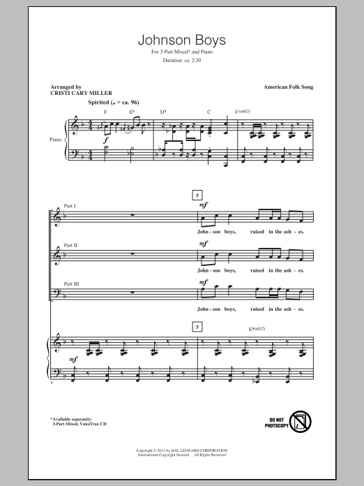 Johnson Boys (arr. Cristi Cary Miller) Sheet Music