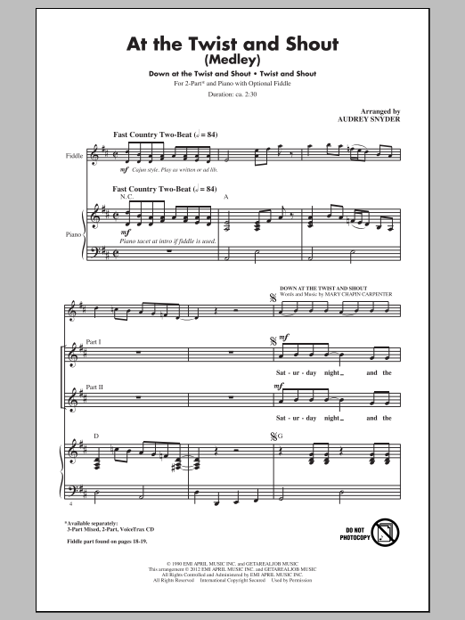 At The Twist And Shout (arr. Audrey Snyder) Sheet Music