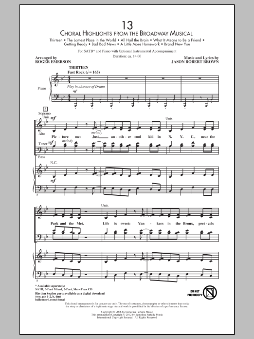 13 (Choral Highlights From The Broadway Musical) (arr. Roger Emerson) Sheet Music