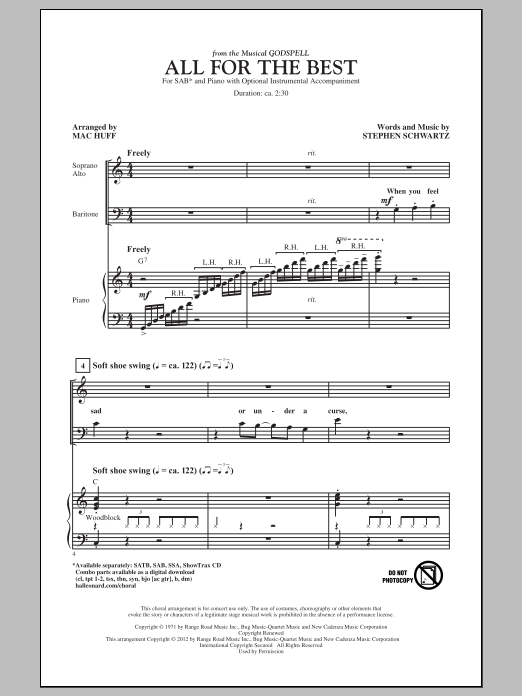 All For The Best (arr. Mac Huff) Sheet Music