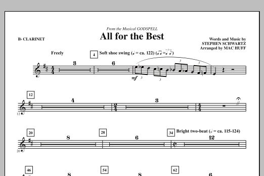 All For The Best (complete set of parts) sheet music for orchestra/band (chamber ensemble) by Mac Huff and Stephen Schwartz. Score Image Preview.