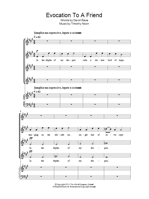 Evocation To A Friend Sheet Music