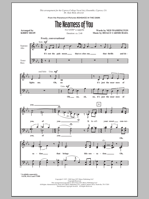 Partition chorale The Nearness Of You de Kirby Shaw - SATB