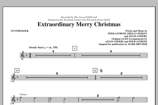 Extraordinary Merry Christmas (complete set of parts) sheet music for orchestra/band (Rhythm) by Peer Astrom, Shelly Peiken, Glee Cast and Mark Brymer. Score Image Preview.