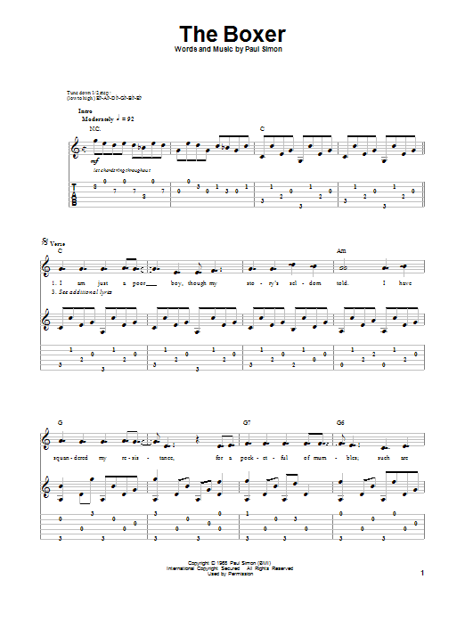 Tablature guitare The Boxer de Simon & Garfunkel - Playback Guitare