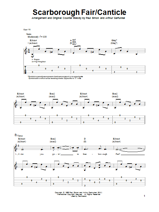 Scarborough Fair/Canticle by Simon & Garfunkel - Guitar Tab Play ...