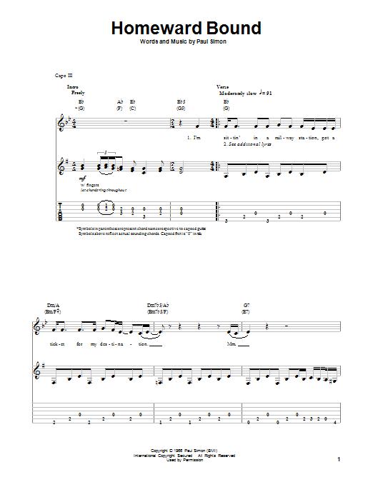 Tablature guitare Homeward Bound de Simon & Garfunkel - Playback Guitare