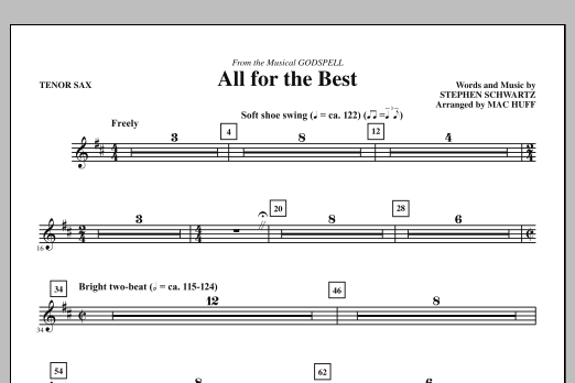 All For The Best - Tenor Sax (Choir Instrumental Pak)