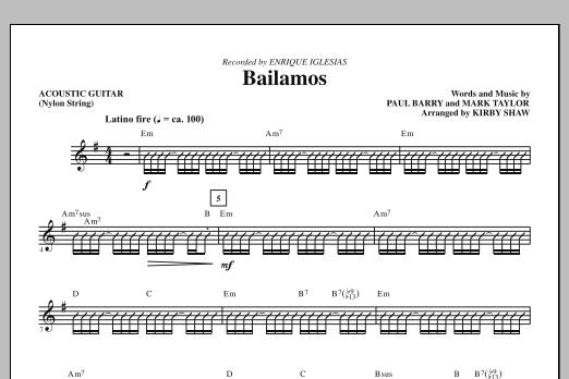 Bailamos - Acoustic Guitar (Nylon String) (Choir Instrumental Pak)