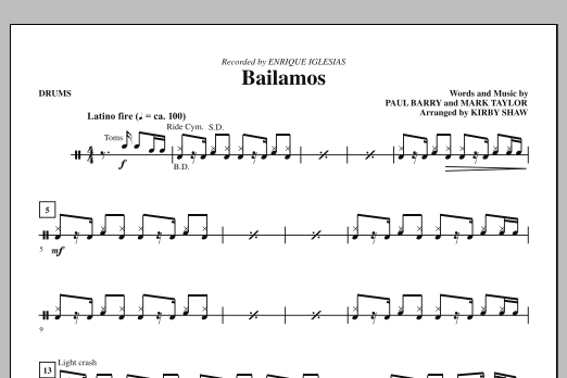 Bailamos - Drums (Choir Instrumental Pak)