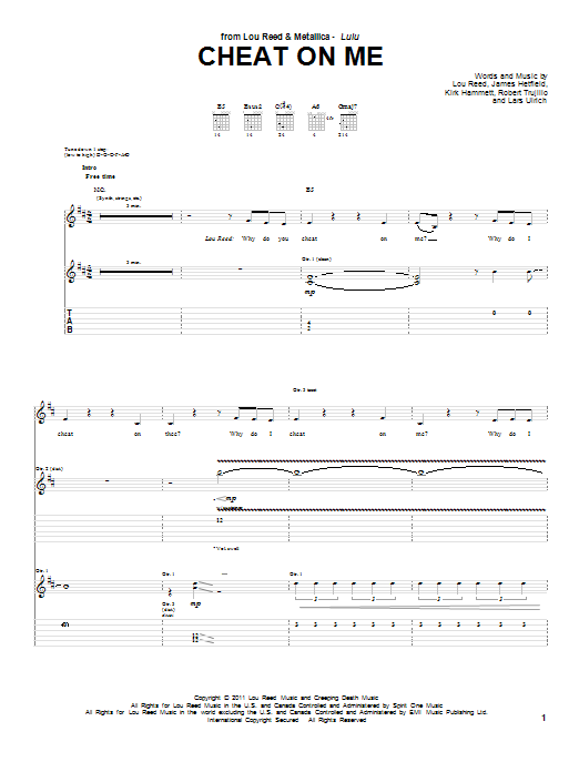 Tablature guitare Cheat On Me de Lou Reed & Metallica - Tablature Guitare