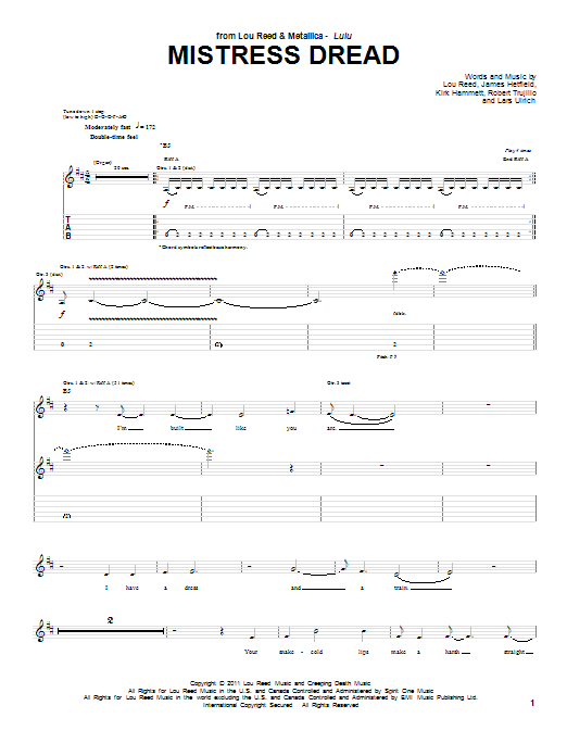 Tablature guitare Mistress Dread de Lou Reed & Metallica - Tablature Guitare