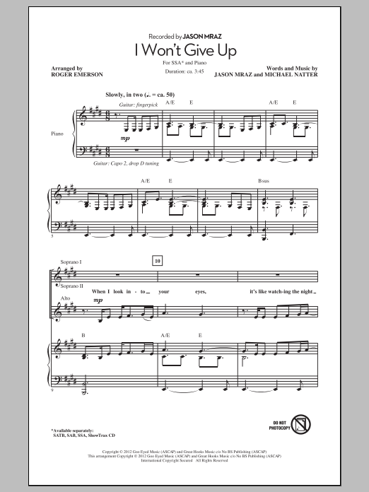 I Won't Give Up (arr. Roger Emerson) (SSA Choir)