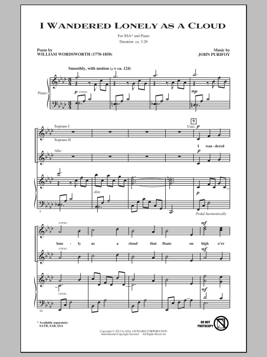 I Wandered Lonely As A Cloud Sheet Music