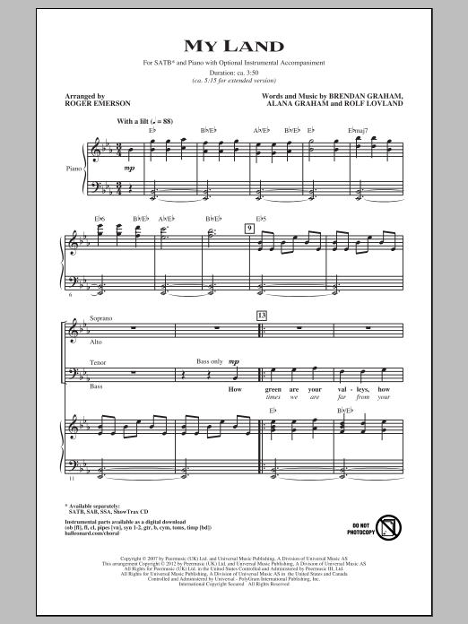 My Land (arr. Roger Emerson) (SATB Choir)