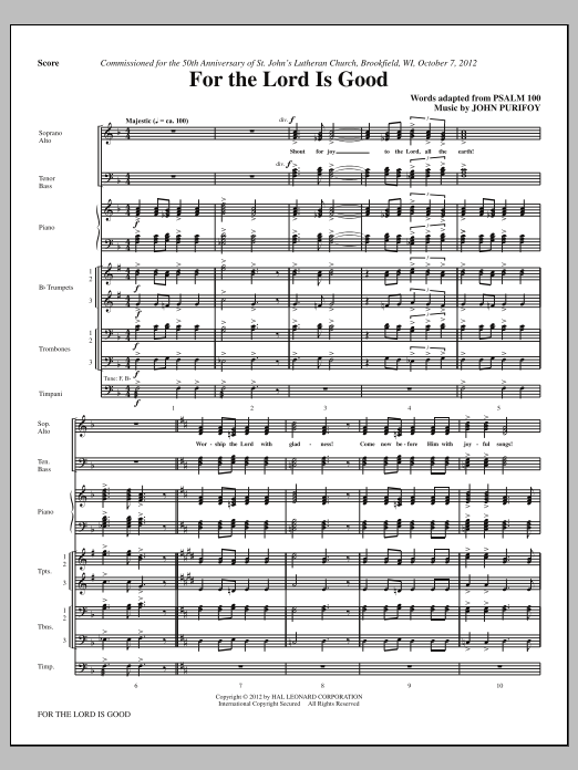 For The Lord Is Good (complete set of parts) sheet music for orchestra/band (Brass/Timpani) by John Purifoy. Score Image Preview.