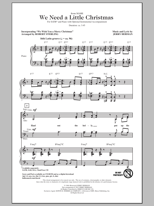 We Need A Little Christmas (SATB Choir)