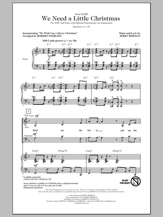 We Need A Little Christmas (SAB Choir)