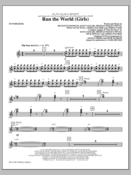Run the World (Girls) (complete set of parts) sheet music for orchestra/band (Rhythm Section) by Mark Brymer, Beyonce and Glee Cast. Score Image Preview.