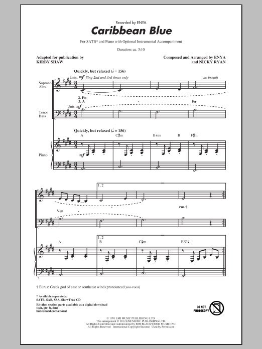 Caribbean Blue (arr. Kirby Shaw) (SATB Choir)