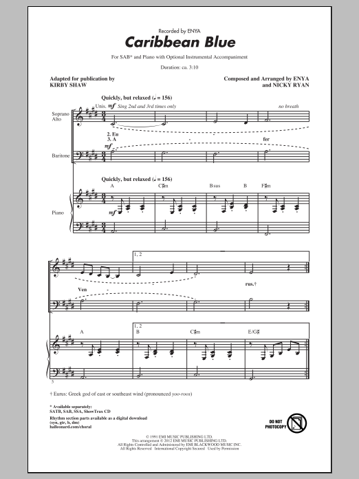 Caribbean Blue (arr. Kirby Shaw) Sheet Music