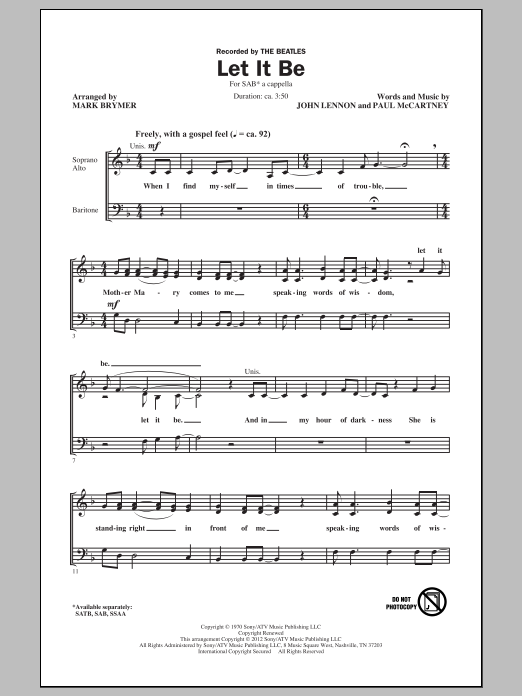 Let It Be (arr. Mark Brymer) Sheet Music