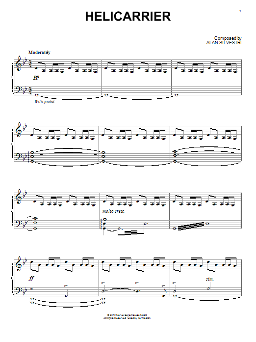 Partition piano Helicarrier de Alan Silvestri - Piano Solo