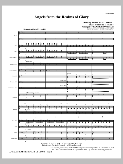 Angels From the Realms of Glory (complete set of parts) sheet music for orchestra/band (Orchestra) by Heather Sorenson, Henry T. Smart and James Montgomery. Score Image Preview.