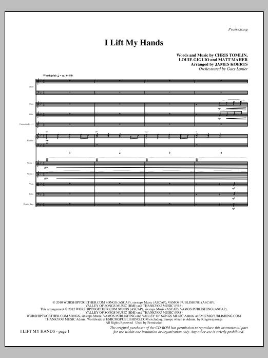 I Lift My Hands - Full Score (Choir Instrumental Pak)