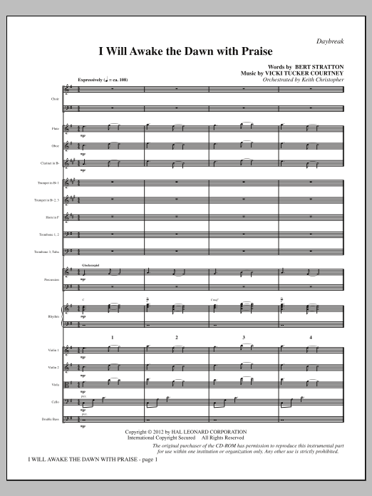 I Will Awake the Dawn with Praise (complete set of parts) sheet music for orchestra/band (Orchestra) by Vicki Tucker Courtney and Bert Stratton. Score Image Preview.