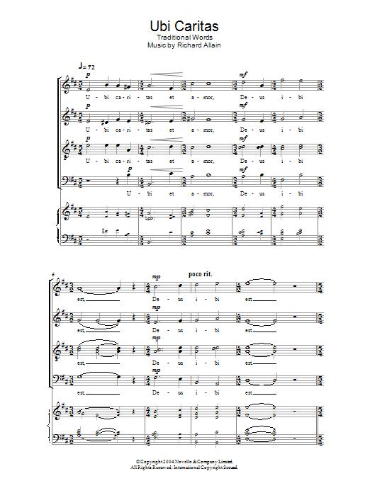 Ubi Caritas Choral SATB sheet music by by Richard Allain (SATB – 114272)