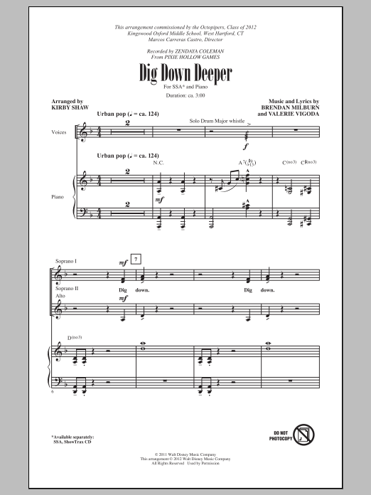 Dig Down Deeper (arr. Kirby Shaw) (SSA Choir)