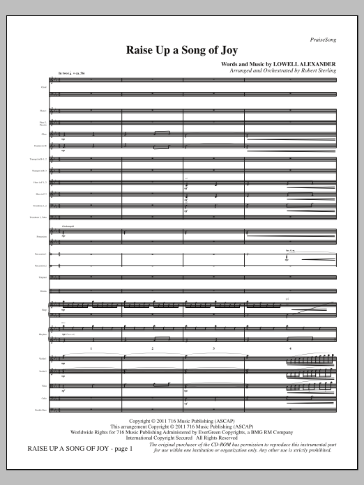 Raise Up a Song of Joy (complete set of parts) sheet music for orchestra/band (Orchestra) by Lowell Alexander and Robert Sterling. Score Image Preview.