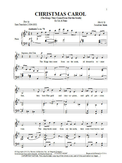 Christmas Carol (The Kings They Came Out From The South) Sheet Music