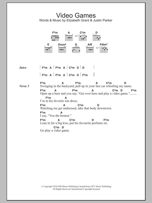 Video Games by Lana Del Ray - Guitar Chords/Lyrics - Guitar Instructor