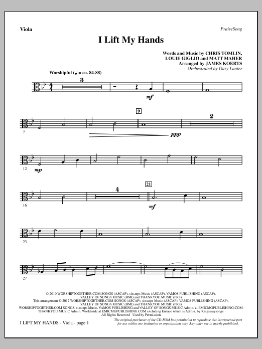 I Lift My Hands - Viola Sheet Music