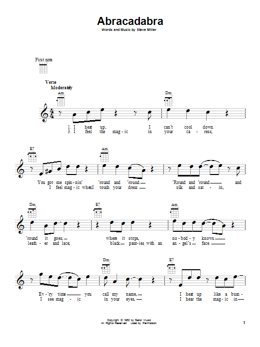 Tablature guitare Abracadabra de Steve Miller Band - Ukulele