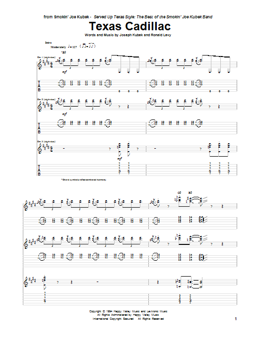 Tablature guitare Texas Cadillac de Joseph Kubek - Tablature Guitare