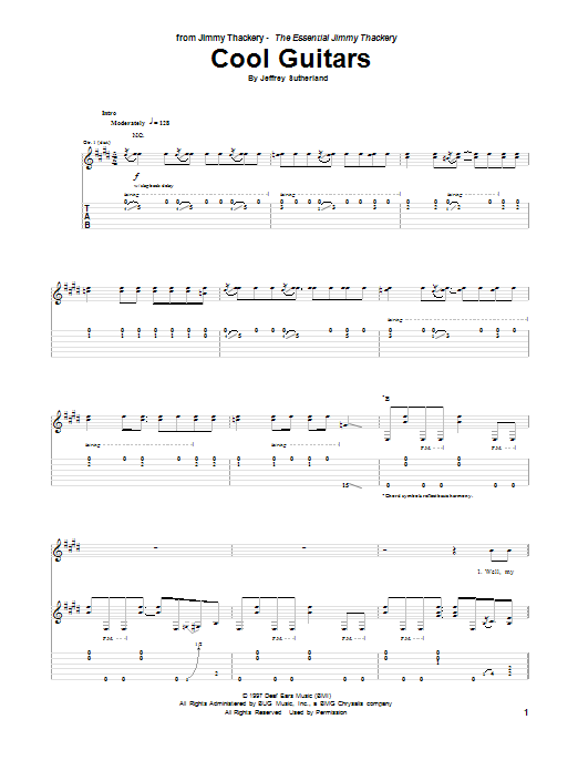 Tablature guitare Cool Guitars de Jeffrey Sutherland - Tablature Guitare