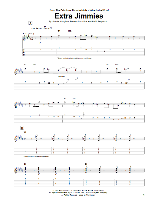Tablature guitare Extra Jimmies de Jimmie Vaughan - Tablature Guitare