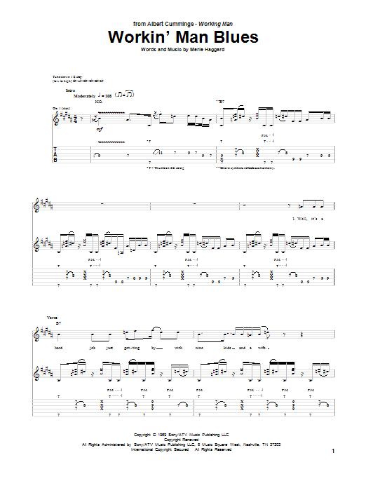 Workin' Man Blues by Albert Cummings - Guitar Tab - Guitar
