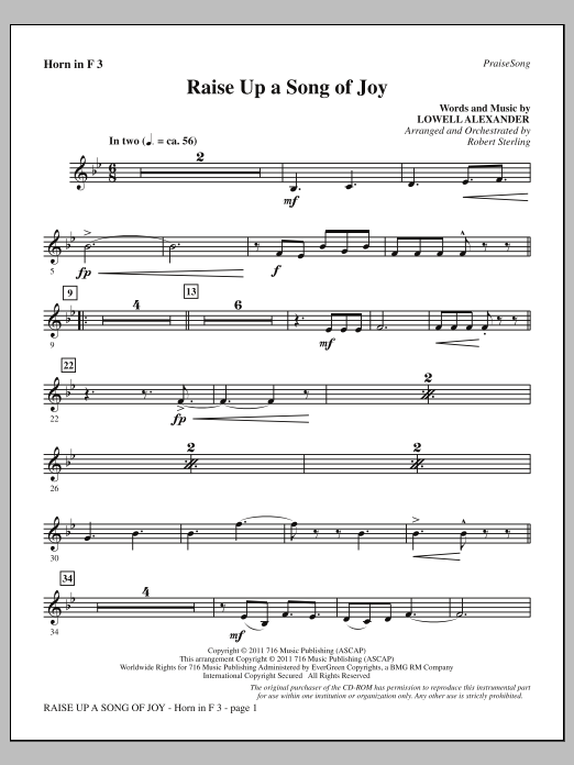 Raise Up A Song Of Joy - F Horn 3 Sheet Music
