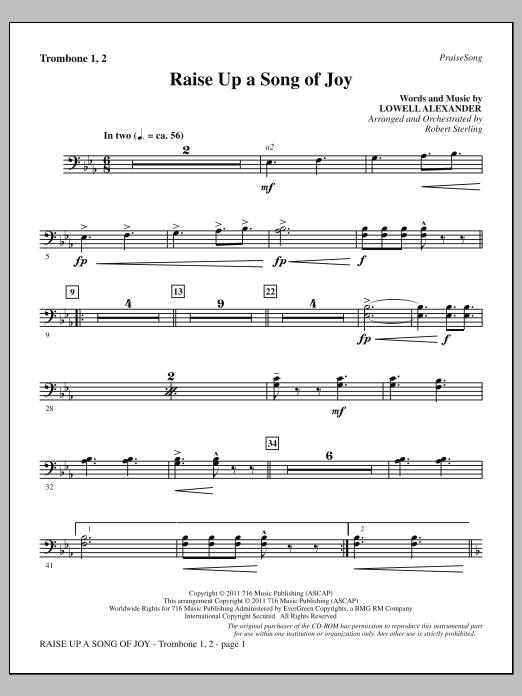 Raise Up A Song Of Joy - Trombone 1 & 2 (Choir Instrumental Pak)