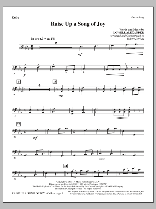 Raise Up A Song Of Joy - Cello Sheet Music