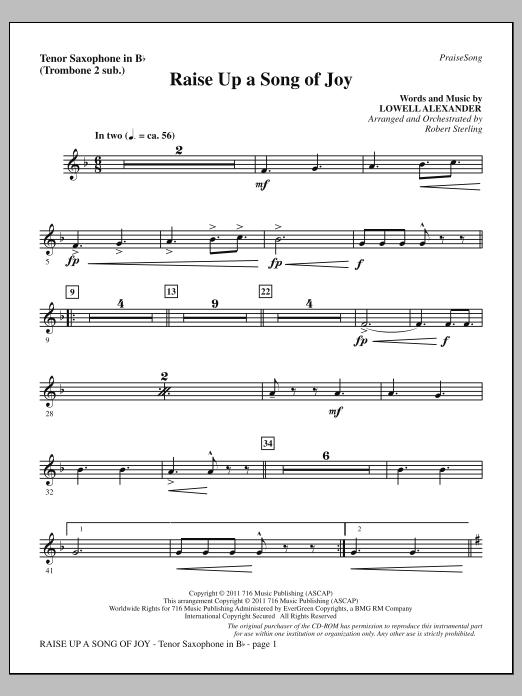 Raise Up A Song Of Joy - Tenor Sax (sub. Tbn 2) (Choir Instrumental Pak)