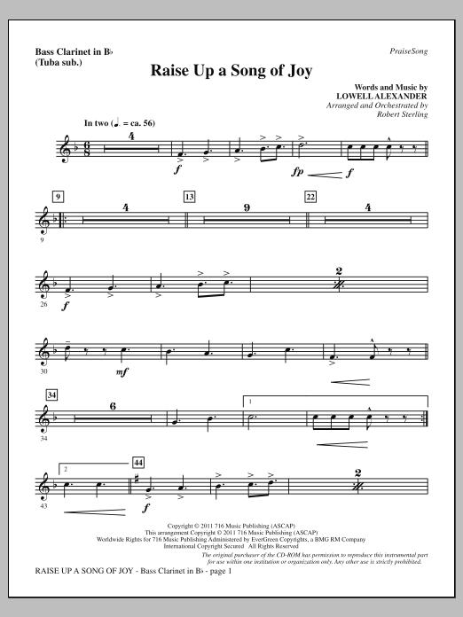 Raise Up A Song Of Joy - Bass Clarinet (sub. Tuba) Sheet Music